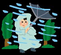暴風雪に耐える子供